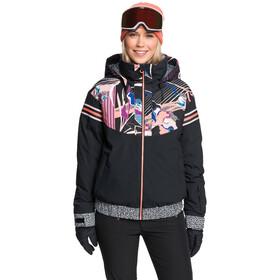 Roxy Pop Meridian Snow Jacket Women, true black pop flowers